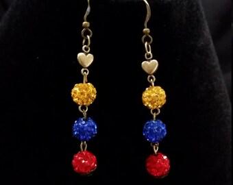 Venezuela Inspired 3-Tier shamballa Sparkling Earrings - SOS Venezuela - Show your support