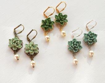 Pale Green Succulent Earrings, Succulent Earrings, Light Green Succulent Jewelry. Succulent Statement Earrings