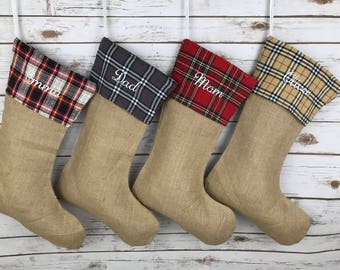 Christmas stocking, personalized Burlap Stocking, burlap Stocking, Plaid Stocking, family, christmas,Stockings, personalized, monogram,plaid