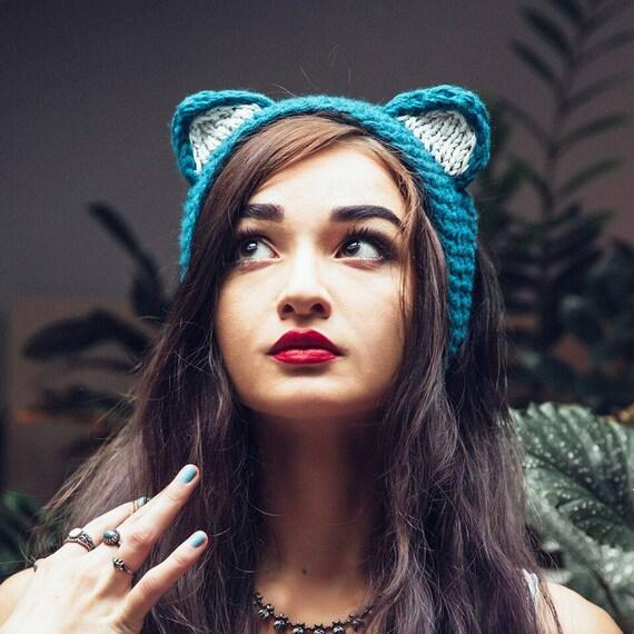 serre t te avec oreilles de chat tricot en acrylique. Black Bedroom Furniture Sets. Home Design Ideas
