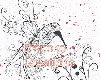 Paint Splatter Hummingbird PRINT