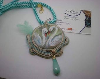 soutache pendant dipinto handmade jewelles