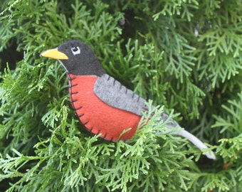 Robin Felt Bird Ornament'