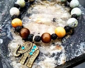 Wood Beads, Elephant, Healing,  Namaste, Beaded Bracelet, Lava Stones, Aromatherapy, Stretchy Wire, Unique, One Of A Kind, Beads, Oils, Live
