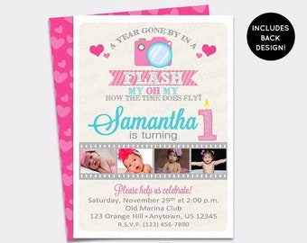 JUNE SALE One Year in a Flash Girl Birthday Invitation Girl First 1st Birthday Pink Heart Picture Invitation Cameras - Printable Digital Fil
