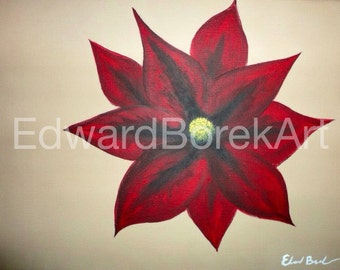 Red Flower. Abstract acrylic painting