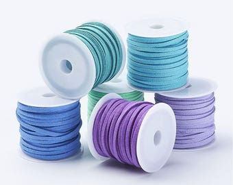 1 m cord Sweden / suede / blue / purple 3mm