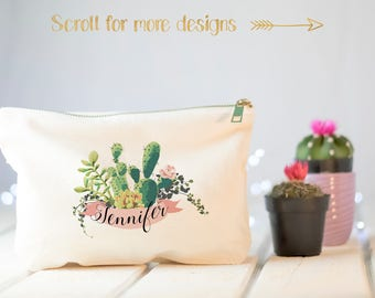 Personalized makeup bag, gift for her, cosmetics pouch, southwest wedding, gift for girlfriend, succulent, personalized clutch, travel gift