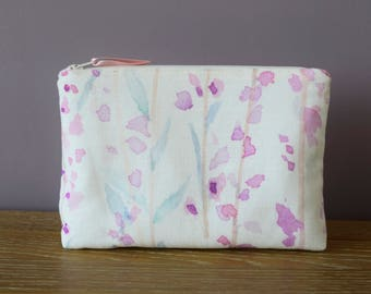Heather Lined Make Up Bag   Watercolour Moorland Heather Print   Pink, Teal & Purple   Cotton/Linen Fabric  Waterproof Lining   Cosmetic Bag