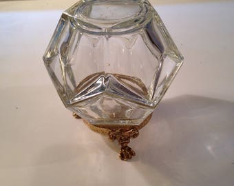 Scalloped clear glass lidded bowl on stand