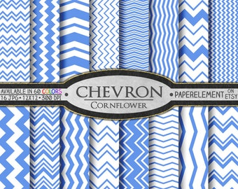 Cornflower Chevron Digital Paper Pack - Instant Download - Digital Scrapbook Paper with Chevron Background
