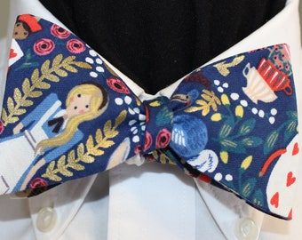 GOLDEN ALICE--Spectacular Alice in Wonderland  handmade bow tie in Japanese cotton,  with metallic gold accents