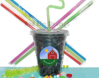 Farm Party Cups, Barn Cups, Kids Birthday Party Cups, 20 Cups, Animal Kids Party Cups, Straws and Lids, 12 Ounce Cups