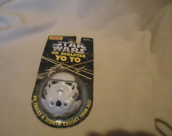 Vintage 1994 Star Wars 3D Sculpted Stormtrooper Yoyo Still In Package, NOS,  Collectable
