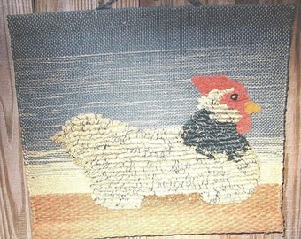 Handmade Weaving Country Wall Hanging Hen Chicken