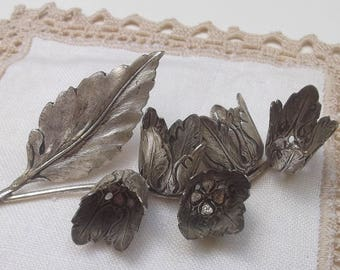 Nice Silver Plated Flowers Bells Stem Vintage Branch Cluster Figurine Italian Home Decor Creative Projects Supply