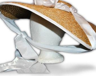Austentation Jane Austen Georgian Regency Bergere Straw Hat: Cassandra, White
