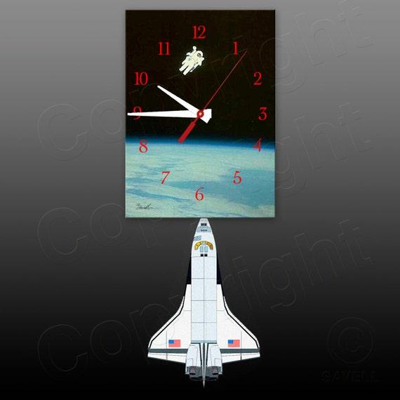 Space Clock with Space Shuttle Pendulum • Astronaut Clock