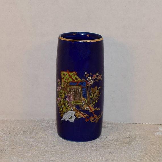 Asian Cobalt Blue Miniature Vase Vintage Oriental Flower Cart Gilded Vase Asian Mini Bud Vase Flowers Wagon Gift for Her Mothers Day Gift