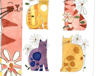 Silly Kitties Watercolor Graphics Isolated Images and Collage Sheet: Instant Digital Download Personal and Commercial Use