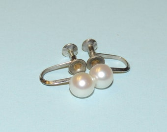 Cultured Pearl and Sterling Silver Screw Back Earrings