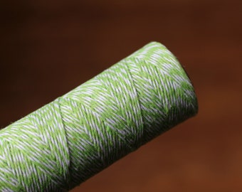 Apple Green and White Bakers Twine / Baker's Twine / 100 Yard Spool / 4 Ply