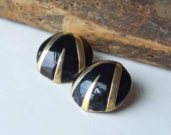 80s Earrings, 1980s Earrings, Vintage Earrings, Black and Gold Earrings, Convex Earrings, Hollow Earrings, Costume,Etsy, Etsy Jewelry,