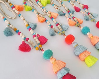 Bright Oversized multi and layered tassel necklace / pompom necklace - Statement Jewelry