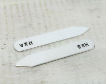 Collar Stays- Pair of Two- Aluminum- Personalized Collar Stay- Men's Personalized Collar Stay- Gifts for Men- Groomsmen Gifts
