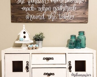 17 x 48 | The Fondest memories are made when gathered around the table Wood Sign