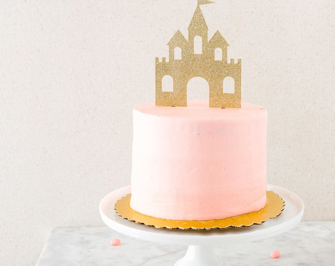 Castle Cake Topper, Gold Glitter Cake Topper, Princess Castle Party Decor, Princess Birthday Cake Decoration, Disney Princess Party PNP427