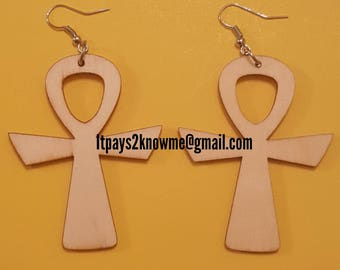Natural unfinished ankh wooden spiritual earrings