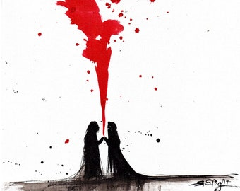 Love painting 8x12in 21x30cm  - A4 canvas sheet -  ink  art - black silhouettes and red smoke