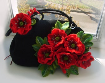 valentine's gift Woman bag Felted wool bag -Felted wool purse-Felt handbag- bag Red poppies-Wet felted bags-black