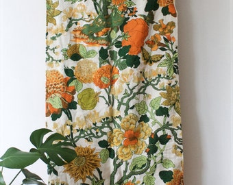 Vintage Set Of 2 Floral Curtains // White Orange Green // 70s Fabric /