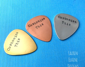 Custom Hand Stamped Brass, Aluminum, or Copper Guitar Pick- Pick Your Own Phrase and Font