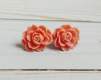 Large Rose Plugs for Gauged Ears 3/4 Inch, 5/8 Inch, 9/16 Inch, 1/2 Inch, 00g, 0G, 2G, 4G , 6G, 4mm, 5mm, 6mm, 8mm, 10mm, Choose your color