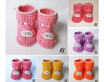AUDI BABY BOOTIES crochet baby girl baby shoes baby socks preemie newborn baby shower gift pregnancy reveal preemie clothing baby gift