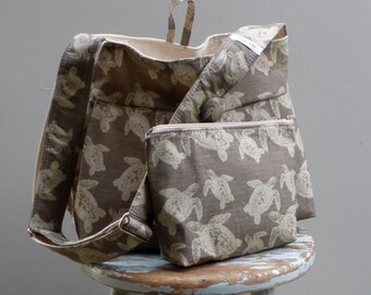 Turtle Diaper Bag and Pouch Set - Extra Deep - 6 Pockets - Key Fob - Adjustable Strap - Hard Bottom