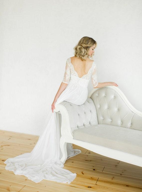 White vintage style wedding dress