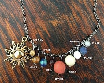 Solar System Necklace Gem Stone