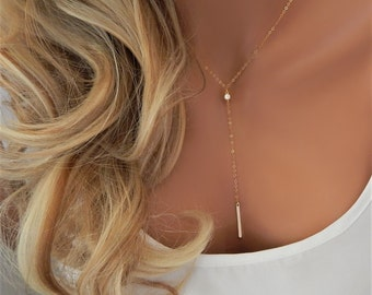Lariat Necklace • Y CZ Lariat • Gold Bar Lariat • Mothers Day Gift • Dainty Gold Necklace • Lariat Choker • Girlfriend Gift