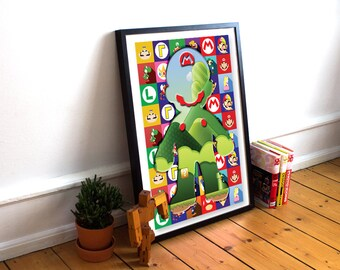 Super mario inspired abstract poster