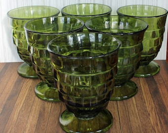 Vintage Set of 7 Colony Indiana Glass WHITEHALL Avocado Green Footed Tumblers Juice Glass Cubist Footed Goblets