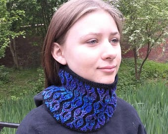 Cowl Knitting Pattern - Two color brioche stitch