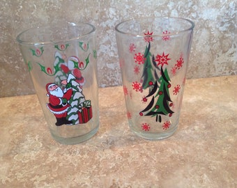 Pair of Christmas juice glasses