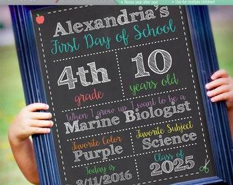 ORIGINAL Editable First Day of School Chalkboard Sign || Instant Download Digital File || Kindergarten, Preschool || Reusable! 8x10 or 16x20
