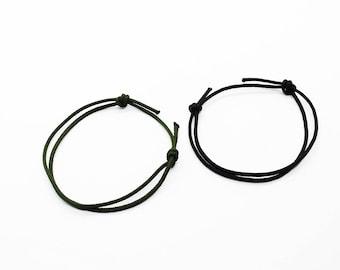 Black Nylon Cord Bracelet Mens Nylon Cord Bracelet Adjustable Sliding Knot Surfer Wristband NEW. Pairs bracelets, Guys jewelry