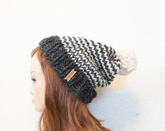 Knit Hat, Striped Slouchy Knit Hat with Pom Pom / Charcoal and White / READY TO SHIP