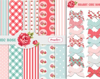 Shabby Chic Set. 12 Digital Papers Red and Blue. 21 Digital Scrapbook cliparts in PNG and JPG